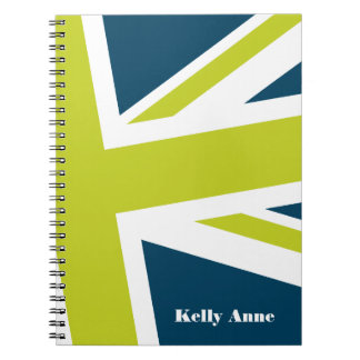 Union Flag Notebook Navy Lime CUSTOMIZABLE