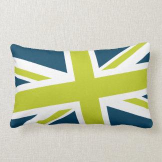 Union Flag Pillow — Lumbar (Navy/Lime)