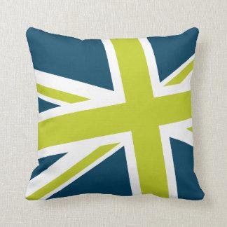 Union Flag Pillow — Square (Blue/Lime) Throw Cushion