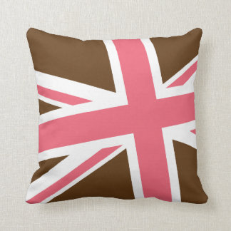 Union Flag Pillow — Square Brown Pink