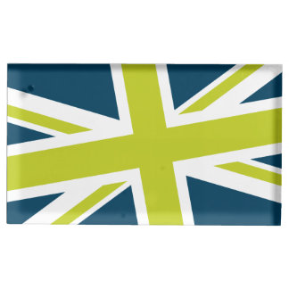 Union Flag Placecard Holder (Navy/Lime) Table Card Holder