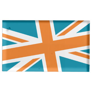 Union Flag Placecard Holder (Teal/Orange) Table Card Holders