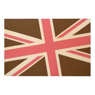 Union Flag Wood Sign 36x24 (Chocolate/Pink) Wood Prints