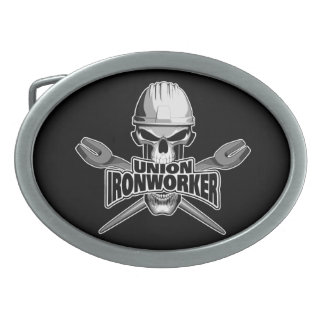 Union Ironworker: Skull and Spuds Oval Belt Buckle