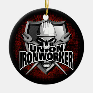 Union Ironworker Skull Ceramic Ornament