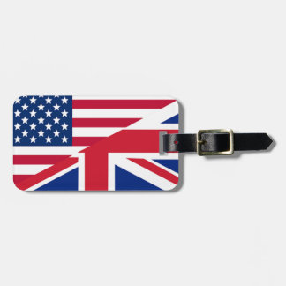 Union Jack American Flag Pattern Stars Stripes Luggage Tag