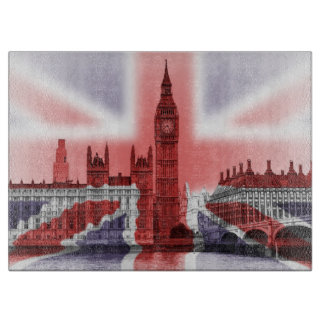 Union Jack and Big Ben Glass cutting board