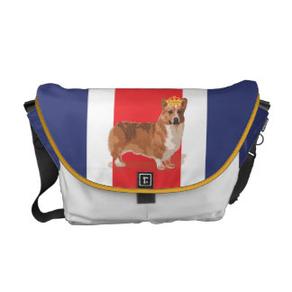 Union Jack and Corgi with Crown Courier Bag