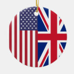 Union Jack And United States of America Flags Double-Sided Ceramic Round Christmas Ornament