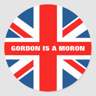 Union Jack anti Gordon Brown Classic Round Sticker