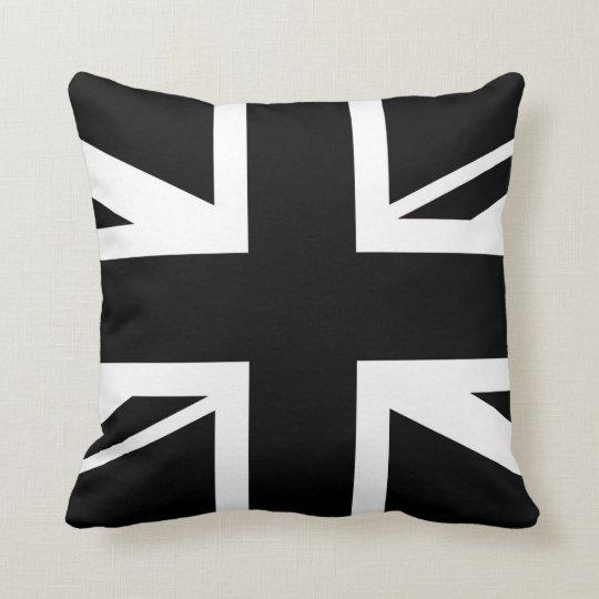 Union jack black and white cushion zazzle