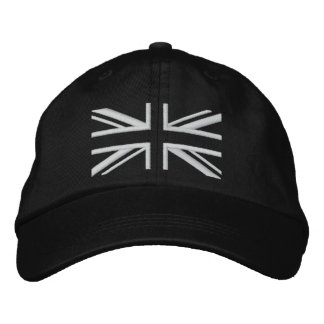 Union Jack ~ Black and White Embroidered Hat