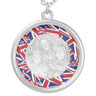 Union Jack Border Template Silver Plated Necklace