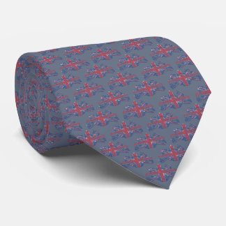 Union Jack British Coat of Arms Grey Tie