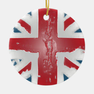 Union Jack British Flag Abstract Wax Art Ceramic Ornament