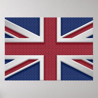 Union Jack British Flag Brushed Metal Look Poster