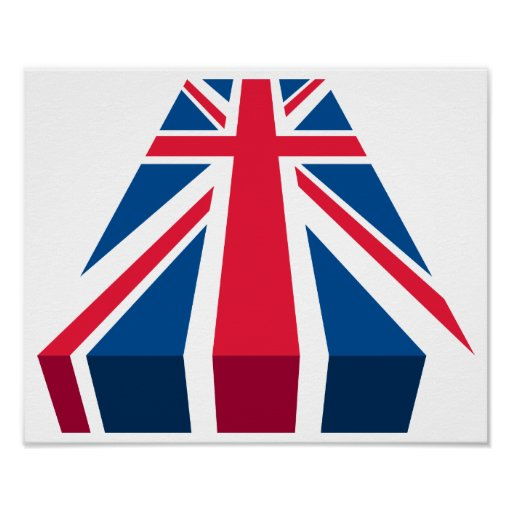 Union Jack, British flag in 3D Posters