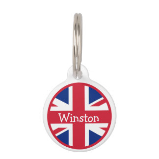 Union Jack British Flag UK ID Name Pet Tag