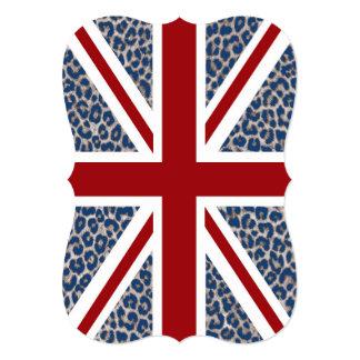 Union Jack British Flag with Blue Cheetah Print 13 Cm X 18 Cm Invitation Card