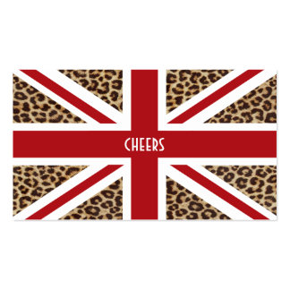 Union Jack British Flag with Cheetah Print Pack Of Standard Business Cards