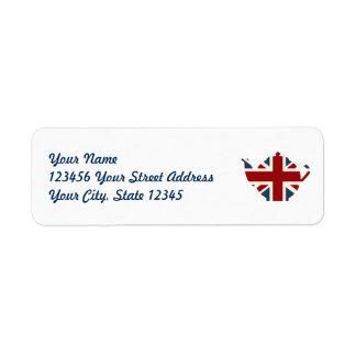 Union Jack British Teapot Return Address Label