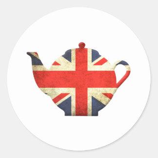 Union Jack British Teapot Round Sticker