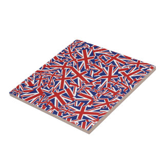 Union Jack Collage Small Square Tile