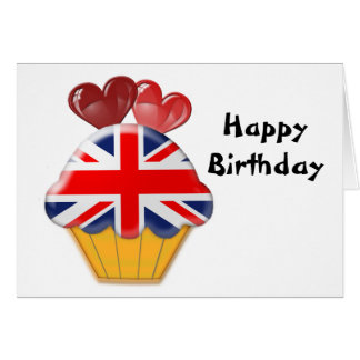 Union Jack Cupcake and Hearts Card