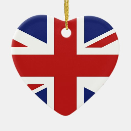 Union Jack Double-Sided Heart Ceramic Christmas Ornament
