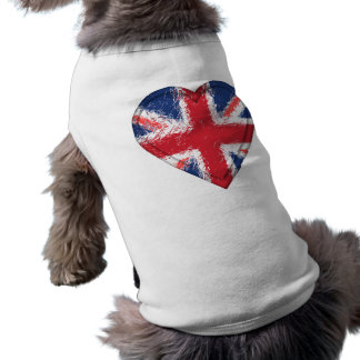 Union Jack distressed heart flag - Great Britain Sleeveless Dog Shirt