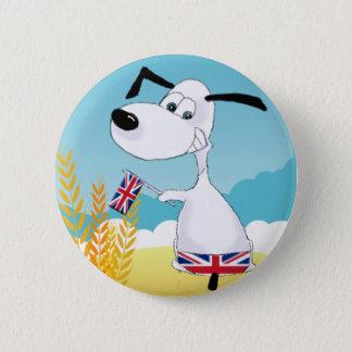 union jack dog 6 cm round badge