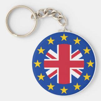 Union Jack - EU Flag Basic Round Button Key Ring