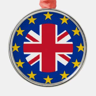 Union Jack - EU Flag Silver-Colored Round Decoration