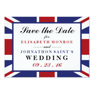 Union Jack Flag British Wedding Save The Date Card