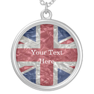 Union Jack Flag - Crinkled Silver Plated Necklace