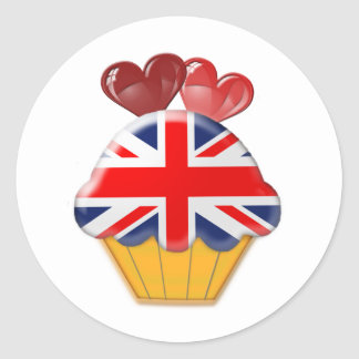 Union Jack Flag Cupcake with Hearts Classic Round Sticker