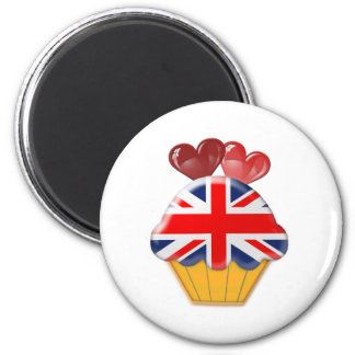 Union Jack Flag Cupcake with Hearts Magnet