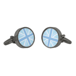 Union Jack/Flag Design Blues Gunmetal Finish Cufflinks