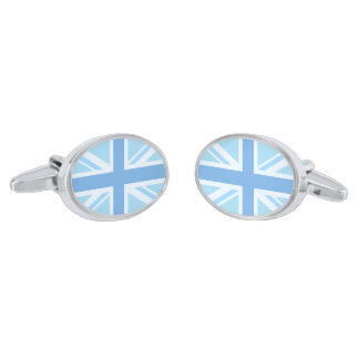 Union Jack/Flag Design Blues Silver Finish Cufflinks