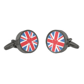 Union Jack/Flag Design & Heart Gunmetal Finish Cuff Links