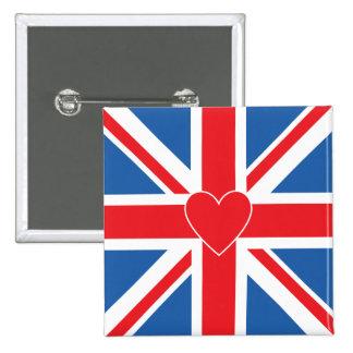 Union Jack Flag & Heart 15 Cm Square Badge
