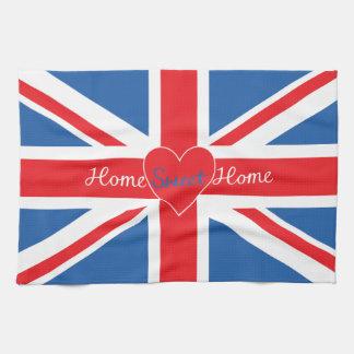 Union Jack Flag, Home Sweet Home & Heart Tea Towels