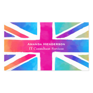Union Jack Flag in Bright Watercolors Pack Of Standard Business Cards