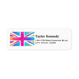 Union Jack Flag in Bright Watercolors Return Address Label