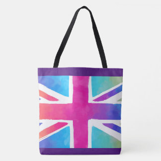 Union Jack Flag in Bright Watercolors Tote Bag