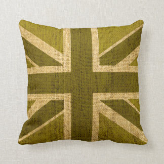 Union Jack Flag in Rustic Green Throw Pillow