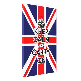 Union Jack flag keep calm and carry on Canvas Print