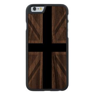 Union Jack/Flag Monochrome Carved® Walnut iPhone 6 Slim Case