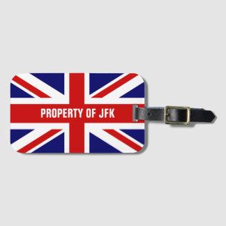 Union Jack flag monogrammed travel luggage tags