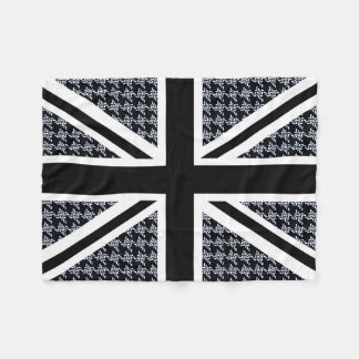 Union Jack Flag on Black and White Houndstooth Fleece Blanket